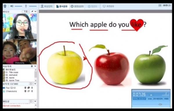 화상채팅 기술을 활용하여 원어민 선생님과 1:1로 공부하는 모습. 사진_용스쿨