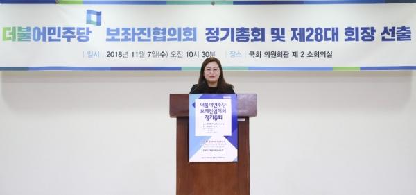 더불어민주당 보좌진협의회(민보협)은 7일 오전 정기총회를 열고 서영교 의원실 조혜진 보좌관을 제28대 회장으로 선출했다.