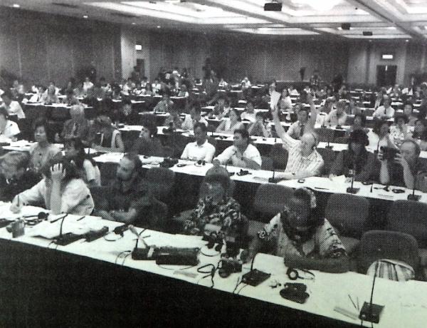 1995년 9월 중국 베이징에서 열린 UN 제4차 세계여성회의 회의장 모습.