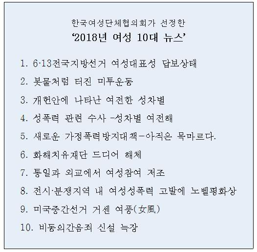 한국여성단체협의회가 선정한 '2018년 여성 10대 뉴스'