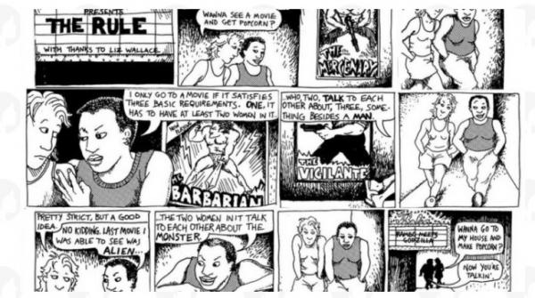 미국의 여성 만화가 엘리슨 벡델이 1985년 그린 만화 '다이크 투 워치 아웃 포(Dykes to Watch Out For)'의 한 장면이다. 한 남성이 다른 한 명에게 보고 싶은 영화의 조건을 말한다. △이름을 가진 여성이 두 명 이상 등장하고 △서로 대화를 하고 △남자와 관련되지 않은 대화를 할 것 등이다. ⓒhttp://bechdeltestfest.com 갈무리