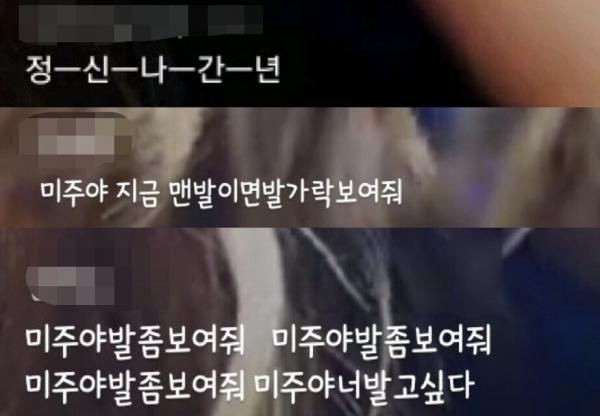 러블리즈 V앱 생방송 도중 올라온 욕설과 성희롱성 채팅 일부