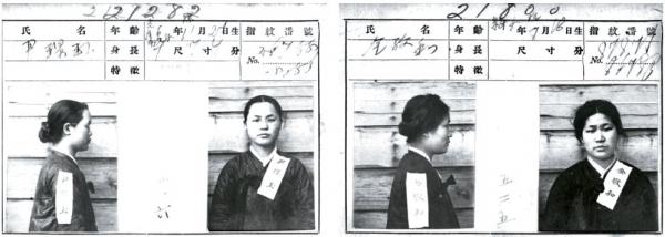 만세운동 당시 여학생들의 활약이 두드러졌다. 배화여학교 학생들의 경우 3·1운동 1주년을 기념해 1920년 3월 1일 만세시위를 벌였고, 검거된 학생 중 21명의 수형기록카드가 남아있다. 사진은 윤경옥(왼쪽), 김경화의 수형기록카드이다.