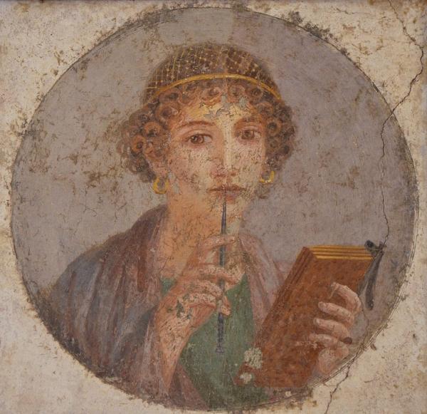 폼페이에서 발견된 이 벽화를 두로 그리스 시인 사포로 추정하는 의견이 많다. 현재 이탈리아 나폴리 박물관에 소장되어 있다.