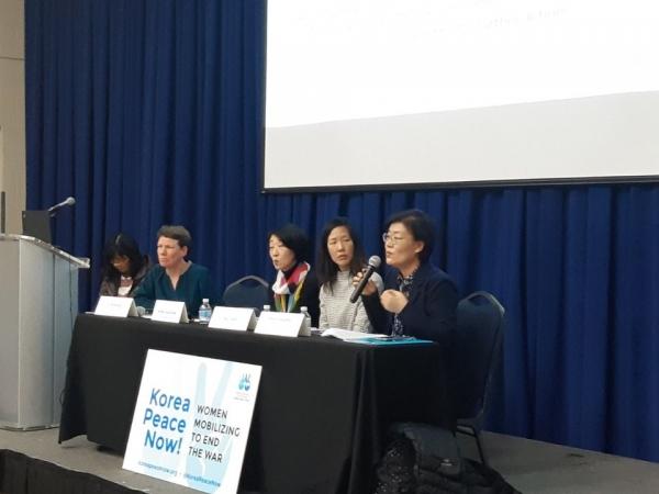 김정수 평화를 만드는 여성회 대표가 '동북아 여성지도자: 한반도 평화'를 주제로 열린 NGO 부대행사에서 발표하고 있다.  ©김정수