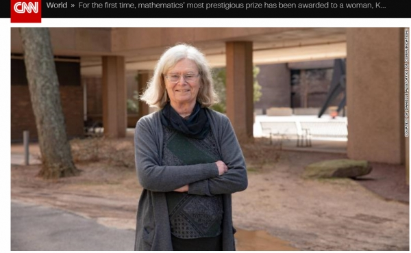 '수학의 노벨상'으로 잘 알려진 '아벨상(Abel Prize)' 여성 최초의 수상자가 된 캐런 울렌베커 교수. ⓒCNN캡처