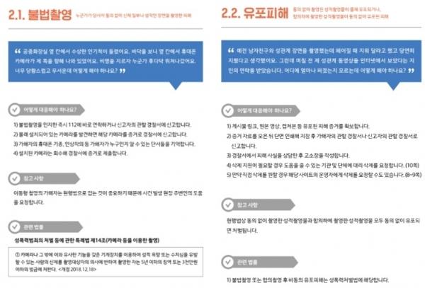 '불법촬영‧유포피해 대응 가이드북' © 서울시