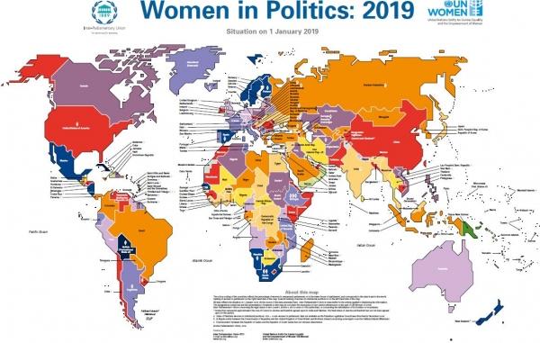 국제의회연맹(IPU)과 유엔 여성(UN Women)이 발표한 2019년 세계 여성지도자 비율 및 국가별 현황. ©IPU·UN Women