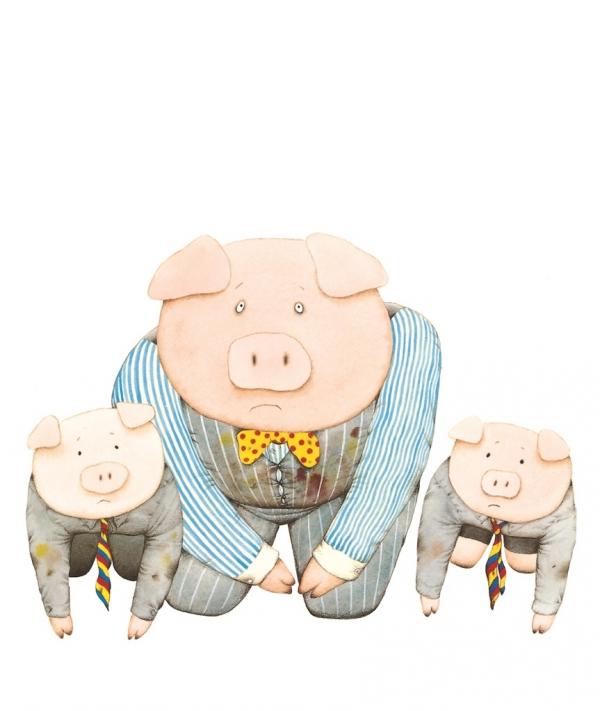 엄마의 부재로 엄마가 너무도 소중한 존재라는 사실을 깨닫게 된 것일까? 돼지 아빠와 돼지 아이들은 엄마에게 제발 집에 돌아와 달라고, 무릎을 꿇고 킁킁거리며 부탁한다. ©웅진 주니어