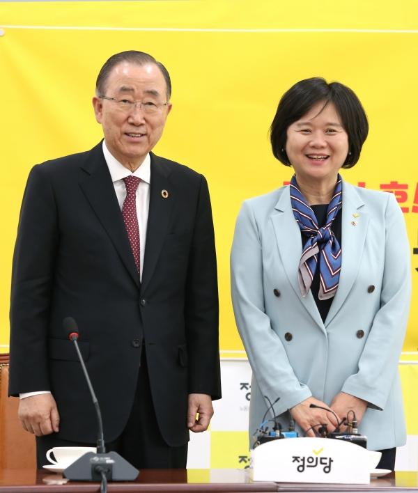 반기문 국가기후환경회의 위원장이 2일 오후 서울 여의도 국회를 방문해 정의당 이정미 대표를 만났다.