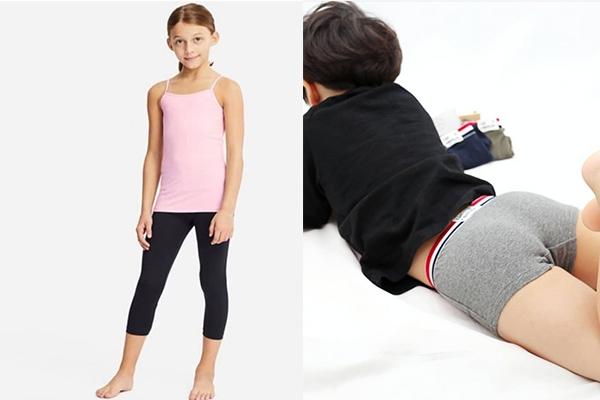 해외 속옷 모델 (왼쪽)과 국내 아동 속옷 모델 (오른쪽). 각각 국내 아동복 쇼핑몰, 유니클로 홈페이지 캡처