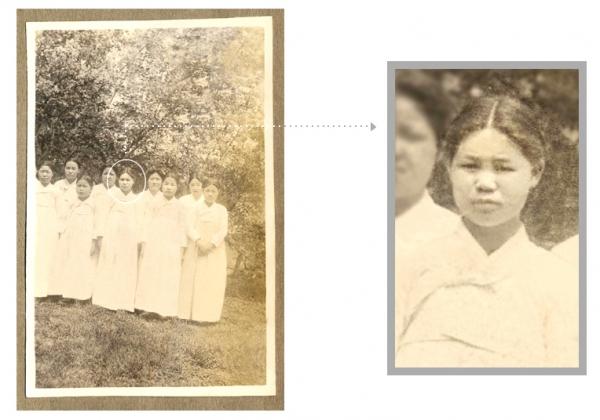 이화여자대학교가 21일 유관순 열사의 미공개 사진 2점을 공개했다. 유관순 열사(가운데) 1918년 추정 ⓒ이화여자대학교 이화역사관