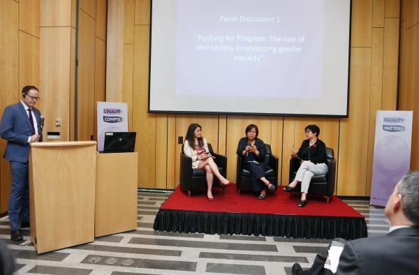 3일 서울 중구 캐나다대사관에서 열린 성평등컨퍼런스 '진전과 변화: 한국의 성평등 증진에 있어서 NGO와 경제계의 역할'에서 패널토론이 진행되고 있다. ⓒ이정실 여성신문 사진기자