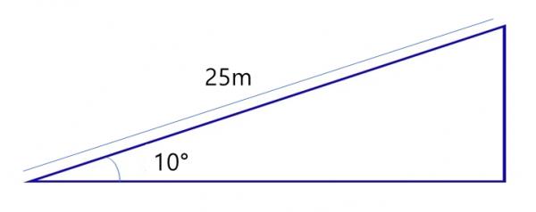 삼각비를 활용하여 스키장 지지대 높 계산하는 법