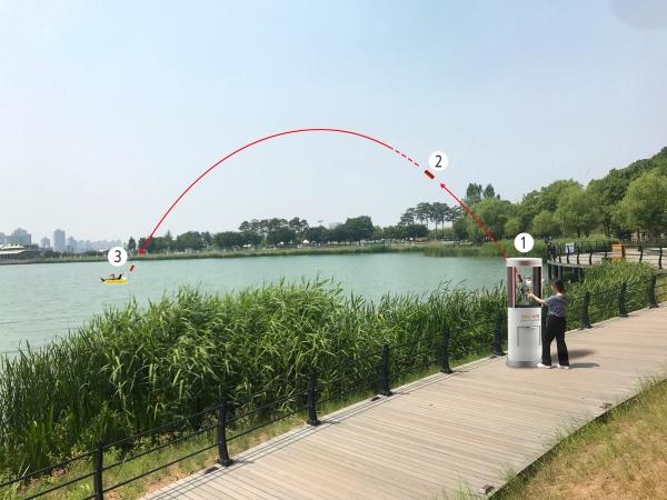 'LIFE GUARD 100' 발사 이미지. 익수자에게 구조로켓(인명구조용 부력기구)을 조준하고 발사 버튼을 누르면 최대 60M까지 날아간다. 발사된 구조로켓은 물에 닿는 순간 최대 5초 이내에 가스가 자동 공급되어 인명구조용 부력기구로 전환된다. ⓒ감환경디자인(주) ⓒ감환경디자인(주)