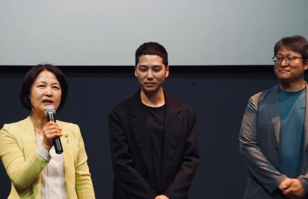 추미애 더불어민주당 의원, 이승현 감독, 조정래 감독(왼쪽부터)