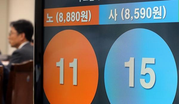 12일 새벽 정부세종청사에서 열린 최저임금위원회 13차 전원회의에서 2020년 최저임금이 2.87% 인상된 8590원으로 결정됐다. 박준식 최임위원장이 결정된 최저임금안에 대해 기자들의 질문에 답하고 있다. / 뉴시스