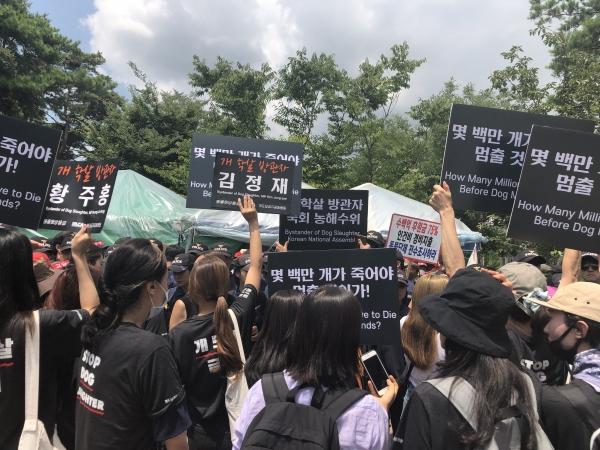 개 식용 반대 측은 국회 앞에서 국회의사당역까지 행진해 개고기 시식 퍼포먼스에 반발하며 언성을 높이기도 했다. ⓒ여성신문 진혜민