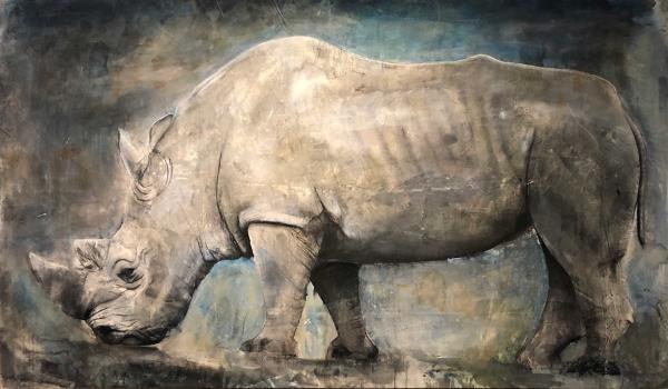 러스 로넷(Russ Ronat, 흰코뿔소(White Rhino), Mixed media on Canvas, 274 x 160cm, 2018. ⓒ사비나미술관