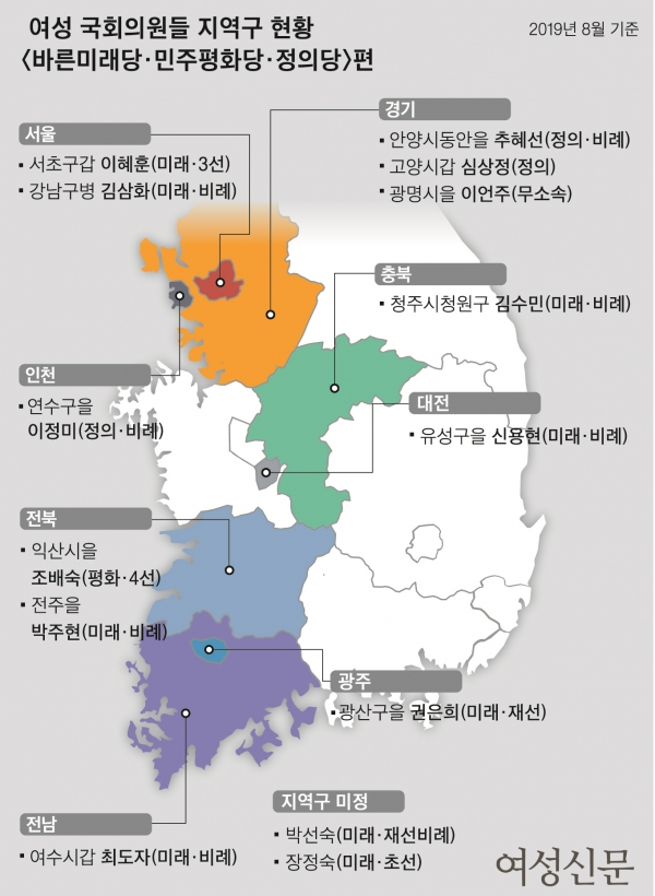 여성 국회의원들 지역구 현황 '바른미래당·민주평화당·정의당' 편 / 여성신문