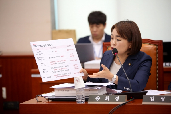송희경 자유한국당 의원이 자신이 준비해온 자료를 들어보이며 의사진행 발언을 하고 있다.