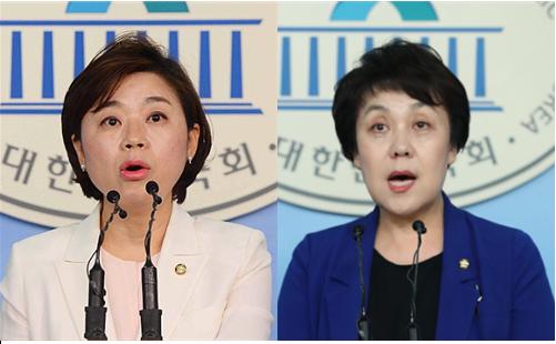 자유한국당 김정재 원내대변인과 더불어민주당 정춘숙 원내대변인 / 뉴시스