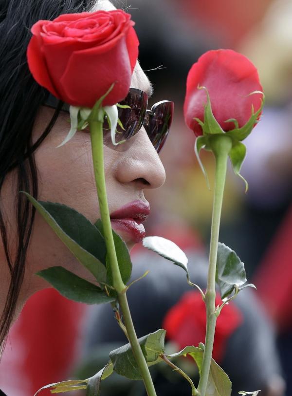 콜롬비아의 한 여성이 보고타에서 열린 가정폭력 근절을 위한 '꽃으로도 때리지 말라' 국제페스티벌에 참가해 장미꽃 두 송이를 들고 있다. ⓒAP/뉴시스.여성신문