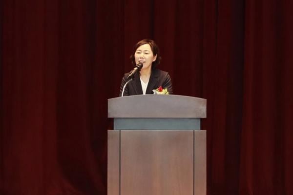 9일 한국정보화진흥원 대구본원 대강당에서 열린 취임식에서 김혜영 신임 부원장이 취임사를 하고 있다. ⓒNIA