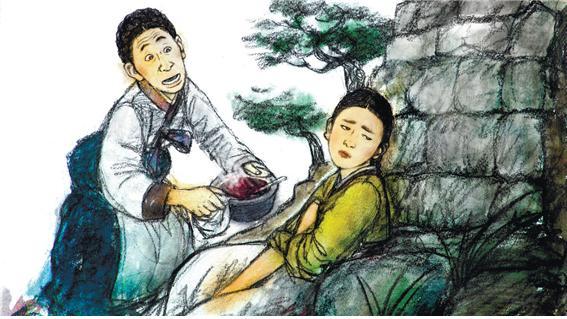 '오뉘힘내기' 전설 중 아들의 편을 드는 어머니가 딸에게 뜨거운 팥죽을 권하는 모습. 가부장 가족에서 엄마가 딸의 가해자가 되는 가족 문제의 설화적 원형이다. ©한국콘텐츠진흥원