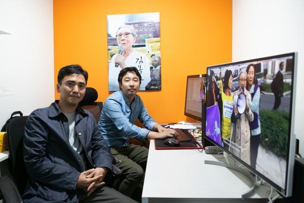 영화 '김복동'의 송원근 감독(왼쪽)과 윤석민 편집. ⓒ곽성경 여성신문 사진기자