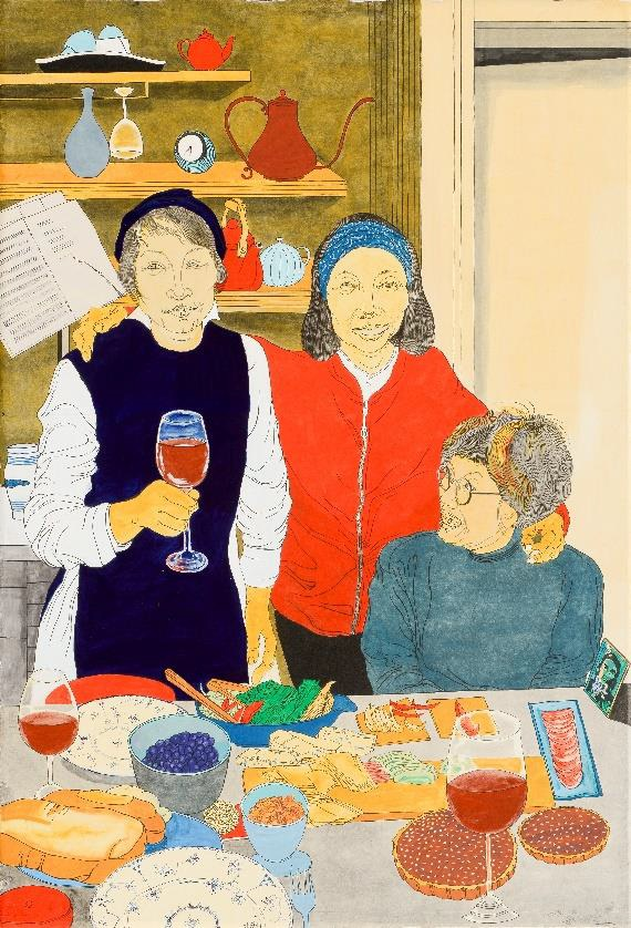 윤석남 작가의 '네 친구들', color pigment on hanji, 한지위에분채, 95x140cm, 2018 ⓒ자하미술관