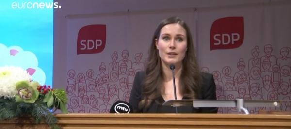 핀란드 새 총리로 선출된 산나 마린. ⓒ유로뉴스 유튜브