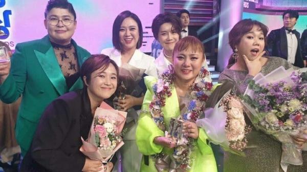 '2019 MBC 연예대상' 수상자들. (왼쪽부터) 코미디언 이영자·송은이·김숙·장도연·박나래·홍현희 ⓒ김숙 인스타그램