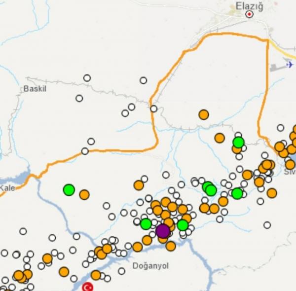 터키 재난위기관리청(AFAD)은 24일(현지 시간) 규모 6.8의 지진이 발생해 최소 20명이 발생했다고 발표했다. 현재까지 여진이 이어지고 있으며 25일 오전6시(현지 시간) 기준 228번의 여진이 발생한 것으로 나타났다. 지도에서 보라색으로 표시된 지역이 6.8 강진이 발생한 시브리스다. ©AFAD 홈페이지 캡쳐터