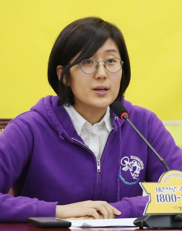 조성실 전 정치하는엄마들 공대대표가 10일 서울 여의도 국회에서 열린 정의당 입당식에서 인사말을 하고 있다. ⓒ뉴시스·여성신문