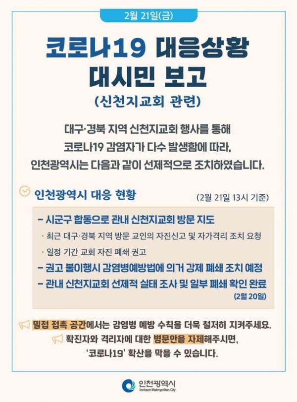 코로나19 인천시 대응 상황 대시민 보고(왼쪽). 박남춘 인천시장이 자신의 SNS에 코로나19 대응 상황에 대해 보고했다.  ©인천시
