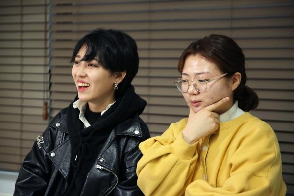 13일 디엑트 액션 에브리웨어(DxE, 직접행동 어디서나) 활동가들이 서울 서대문 여성신문에서 인터뷰를 했다. ⓒ홍수형 기자