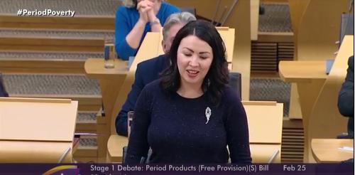 모니카 레넌 의원이 스코틀랜드 국회에서 연설을 하고 있다© scottish parliament facebook 유투브 캡처
