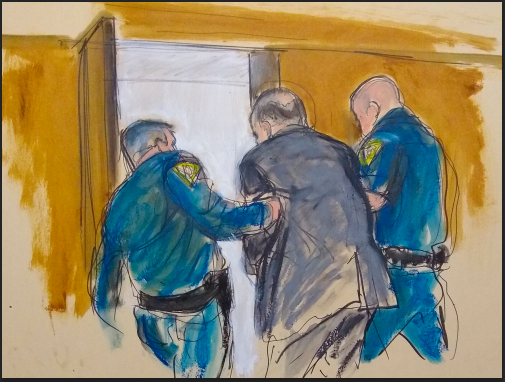 성폭행 혐의로 기소된 미국의 저명한 영화제작자 하비 와인스틴이 24일(현지시간) 뉴욕 법원에서 유죄판결을 받았다. 사진은 법정구속되는 와인스틴의 모습을 그린 그림. ⓒ [뉴욕=AP/뉴시스]