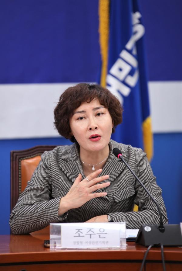 조주은 경찰청 여성안전기획관이 텔레그램 N번방 성폭력 처벌 강화 간담회에서 모두의 발언을 하고 있다.