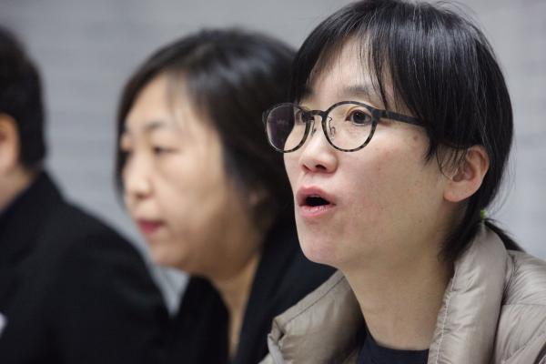 장하나 정치하는 엄마들 활동가여성정책 전문가 간담회에서 발언을 하고 있다. ⓒ홍수형 기자