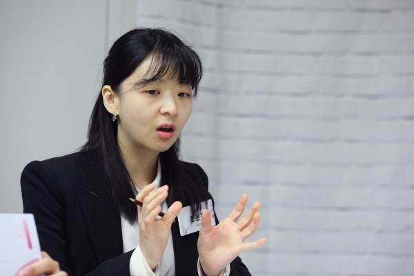 조은호 디지털 성폭력 변호사는 여성정책 전문가 간담회에서 '텔레그램 N번방' 사건의 심각성에 대해 발언을 하고 있다. ⓒ홍수형 기자