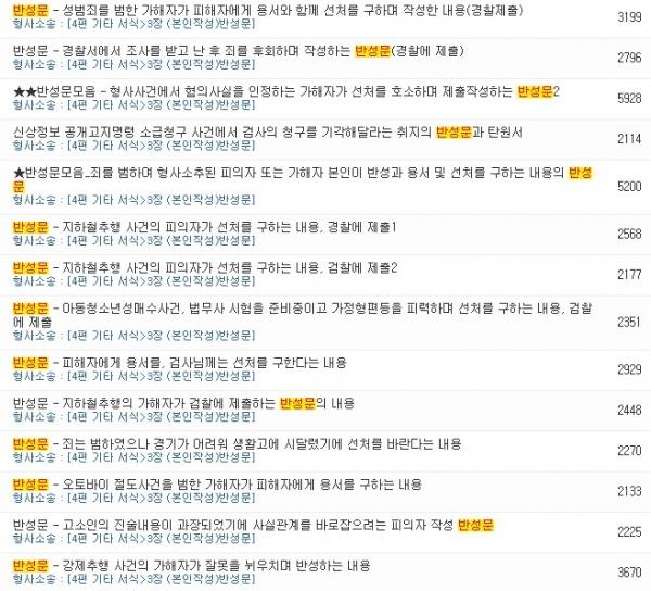 한 법률 서식 사이트에서는 성범죄 관련 반성문이 1000~5만원에 판매되고 있었다. ©해당 사이트 캡쳐