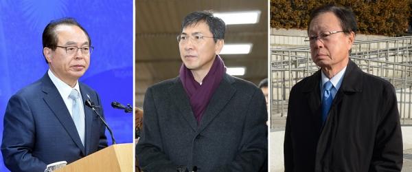 오거돈 전 부산시장(왼쪽부터), 안희정 전 충남지사, 박희태 전 국회의장 ⓒ뉴시스·여성신문