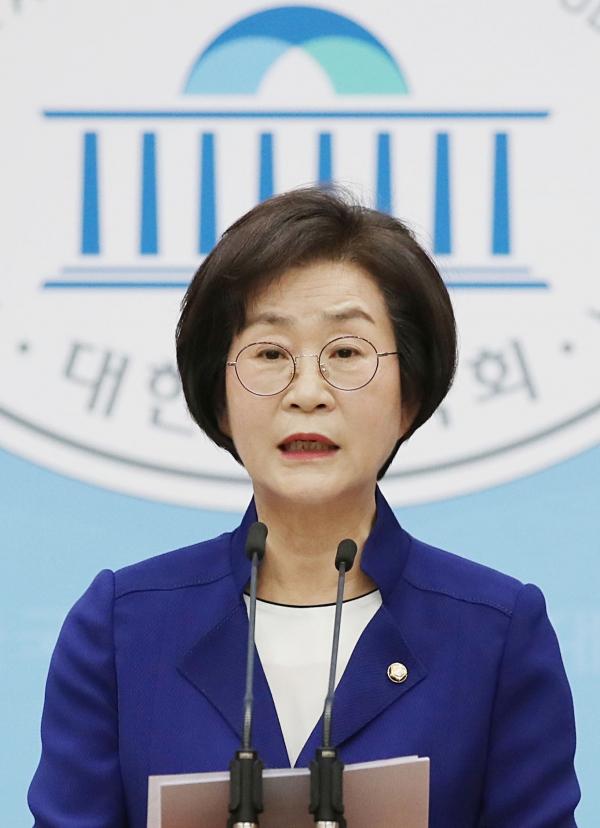 김상희 더불어민주당 4선 의원이 15일 국회 소통관에서 기자회견을 열고 21대 국회 부의장에 출사표를 던졌다. ⓒ뉴시스·여성신문