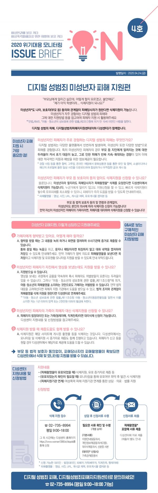 한국여성인권진흥원 2020 위기대응 모니터링 이슈브리프 'ON' 4호 미성년자 피해지원 편 ⓒ한국여성인권진흥원