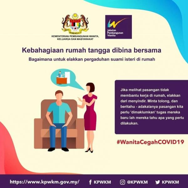 말레이시아 여성가족개발부는 '코로나19 예방을 위한 권고사항'이라며 남성이 소파에 앉아 있는 그림과 함께, 남편이 집안일에 도움이 되지 않는다고 비난하지 말고 가르쳐주라고 여성들에게 권고했다가 비판을 받고 홍보물을 삭제했다. ⓒ 말레이시아 여성가족개발부 인스타그램 화면 캡처