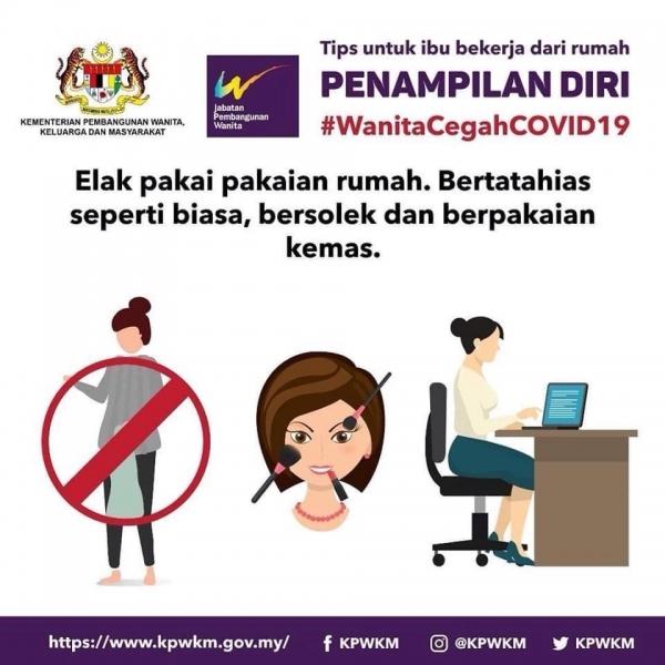 말레이시아 여성가족개발부는 '코로나19 예방을 위한 권고사항'이라며 여성들에게 집에서도 화장하고 옷을 차려입을 것 등을 권고했다. ⓒ말레이시아 여성가족개발부 인스타그램 화면 캡처