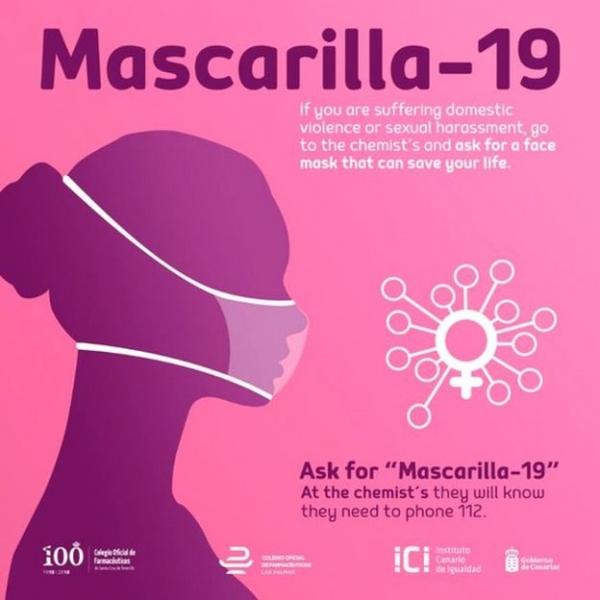 스페인 카나리아 제도의 카라니섬평등연구소가 지난 4월 시작한 '마스크19(Mascarilla-19)' 캠페인 ⓒGobierno de Canarias