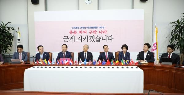 주호영 통합당 원내대표가 25일 서울 여의도 국회에서 열린 미래통합당 비상대책위원회의에서 발언을 하고 있다. ⓒ여성신문·뉴시스